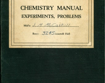 1941 United States Naval Academy Student Chemistry Manual