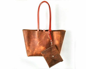 Handmade leather tote bag-Size S