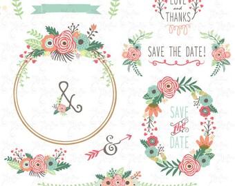 "Wedding Clipart pack ""FLORAL WREATH ""clip art, Vintage Flower, Floral Frame, Wreath,Wedding,Save the date,invitation,Instant Download Wd119"