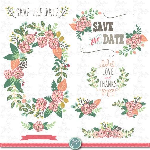 Wedding Clipart Pack FLORAL VINTAGE WREATHVintage FlowersFloral Frames Wreath 30 Images