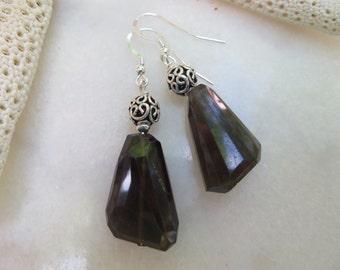 Smoky Quartz Earrings, Irregularly Faceted Smoky Quartz Earrings, Bali Earrings, Sterling Silver Earrings, Semi Precious Gemstone Earrings