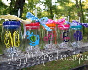 Bev2Go Tumbler, Stemless Wineglass,Personalized Wine Glass, Monogrammed Stemless Wineglass