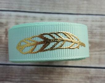 5/8 inch MINT FEATHER grosgrain ribbon