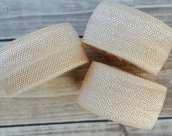 5/8 CREAM Fold Over Elastic 5 or 10 YARDS