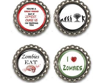 Zombie 2 Bottle Cap Magnets, Bottlecap magnets, Set of 4.