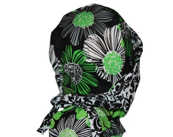 Surgical Scrub Hat - Scrub Cap -  Tie Back - Front Fold Ponytail Scrub Hat  Lime Green Black White Floral 2nd Item Ships FREE