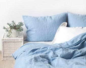 US Queen Size Sky Blue Linen Bed Set