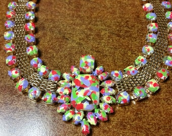 Hand Painted Neon Rhinestone Necklace - One of a kind!!