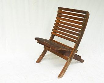 Wooden Beach Chair,   Vintage Outdoor Chair, Low Beach Chair, Wood Folding Beach Chair, Deck Chair, Heavy Duty Beach Chair