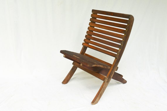 Vintage Outdoor Chairs 2 Wooden Folding Chairs by
