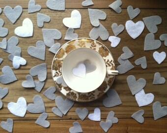Felt Confetti Hearts - Grey/White