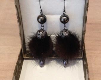 Black Mink Dangle Earrings