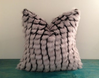 "Faux Fur Pillow Cover - 18"" x 18"" Light Grey and Black Checker Faux Fur and Black Faux Suede Pillow Cover"