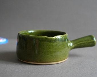 french vintage olive ceramic heavy saucepan