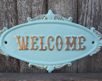 Rustic Cast Iron Welcome Sign Ocean Blue Home Decor Handpainted Letters