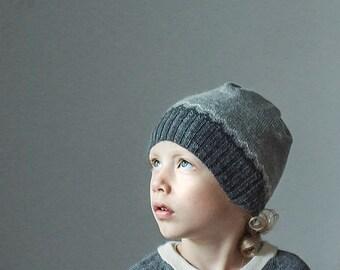 SALE Nordic hat in gray for baby children / 6-12 months  4-10 year alpaca wool slouchy beanie knit unisex hat children knit hat