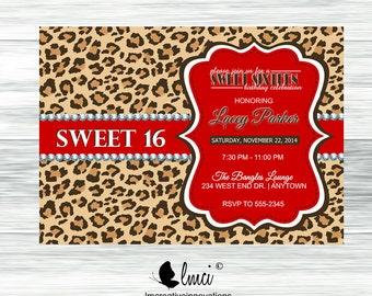 Animal Print Birthday Invitation, Cheetah Print Invitation, Leopard Print Invitation - Digital File