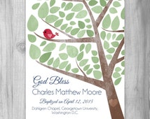 Baptism Gift for Boy, Christening Gift Baby Personalized Art Print Custom Gift Dedication Gift Red Green OR Custom Colors