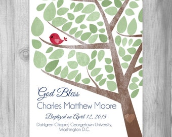 Personalized Baptism Gift for Boy, Christening Gift Baby  Art Print Custom Gift Dedication Gift Red Green OR Custom Colors