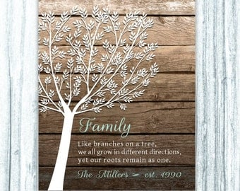 Family Tree Print Like Branches on a Tree Rustic Faux Wood Anniversary Gift Ombre Modern Art Housewarming Gift 8x10 11x14 Personalized Gift