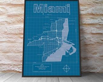 Miami Map / Original Artwork / Miami Map Art / Wall Art / Wedding Gift / Street Map / Florida Map / Anniversary Gift