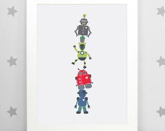 Boy's Wall Art, Robot Art, Boys Wall Decor, Robot Totem