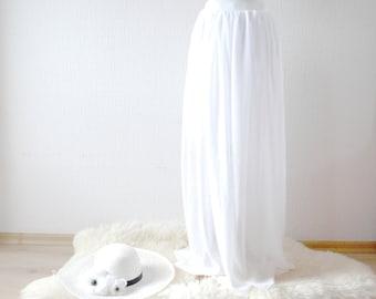 WHITE MAXI skirt FULLY lined ~ Bridal skirt ~ Wedding skirt ~ White beach skirt ~ White boho skirt ~ Maxi chiffon skirt~Summer chiffon skirt