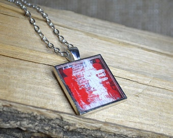 Abstract Red White Pendant Necklace Red Jewelry Wearable Art Resin Jewelry Red White Abstract Art Gifts for her Resin Pendant Unique Gift