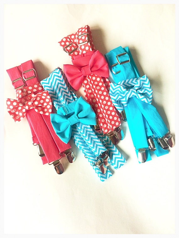 coral and aqua suspenders and bow tie set coral