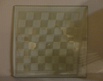 Frosted Glass CHESS or CHECKER BOARD - Game Board