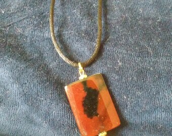 Amber Color Glass Pendant Necklace