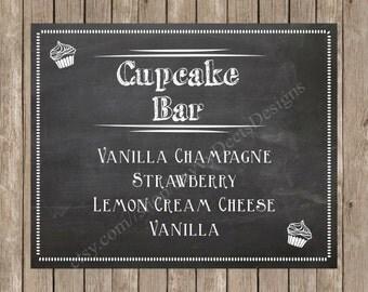 Custom Chalkboard Wedding Cupcake Bar Sign Printable - Cupcake Station - Cupcake Menu - Digital File