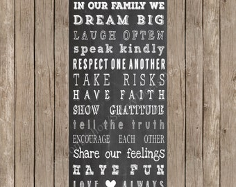 Chalkboard Family Rules Printable - Family Rules Printable - Family Sign - Digital Wall Art