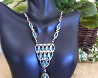 Amazing Vtg Southwestern Turquoise Statement Necklace