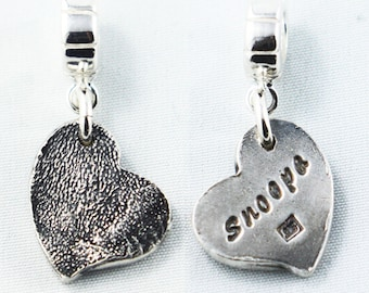 Silver Cat or Dog Partial Paw Print Pendant on a Sterling Silver Necklace Dog Paw Print Jewelry Memorial Jewelry Dog Lover