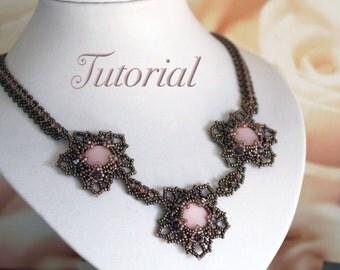 Tutorial for beadwoven necklace 'Flora' - PDF beading pattern - DIY