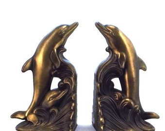 Brass dolphin bookends, brass bookends, library decor, bookends, dolphins, dolphin bookends, beach decor, old bookends