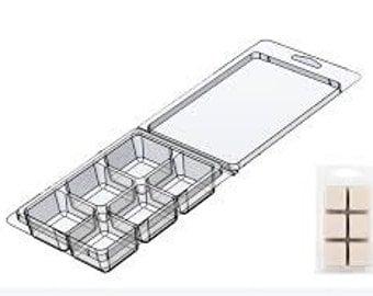 Six Cavity Soap & Wax Melt Wax Tart Clamshell Container