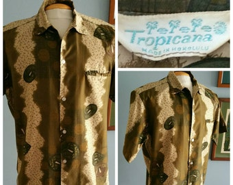 Mens brushed cotton abstract Hawaiian shirt  (small) by Tropicana, made in Honolulu.