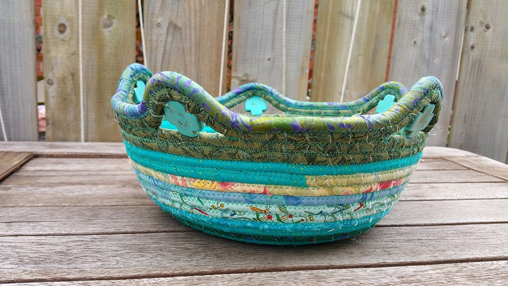 Handmade Beaded Basket : Coil basket ooak handmade beaded fiber art fabric clothesline