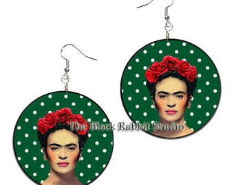 Frida Kahlo Earrings, Frida Kahlo Jewelry, decoupage earrings, Hypoallergenic Earrings