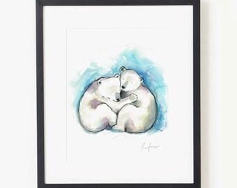 SALE - Original Polar Bear Watercolor Painting, Nursery Decor, Nursery Art, Illustration, Playroom Art