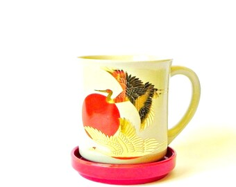 Vintage Japanese crane tea cup set