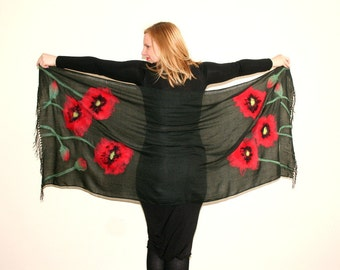 Pashmina Felted Scarf whit Red Poppies, Black Floral Scarf, Poppy Scarf, Art Pashmina