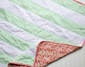 Mint Paisely Stripe Baby Quilt, Pink, Coral Mint stripe baby quilt- Modern Baby Girl Quilt- Pink and Green Baby Quilt- Scrumptious Fabric
