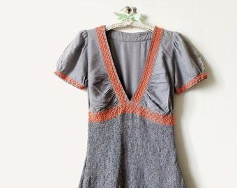 Shirred summer dress / boho dress / cotton dress / grey dress