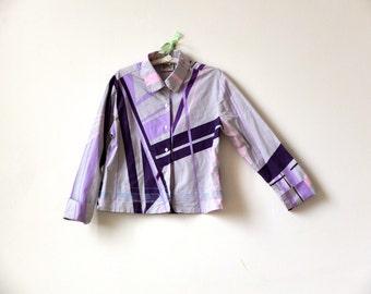 Long sleeve woman's shirt / cotton shirt jacket / lilac / purple / Mambo / embroidered