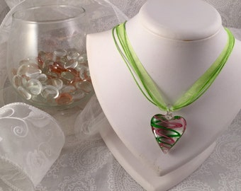 Two tone Pink and Green Heart-shaped lamp work glass drop pendant necklace on a Green multi-ribbon