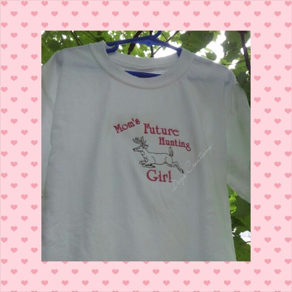 Youth t-shirt - embroidered mom's future hunting girl - Future Girl deer hunter - custom future dear hunter shirt