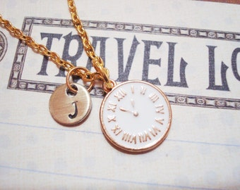 CLOCK NECKLACE in gold and white enamel - personalized with initial charm